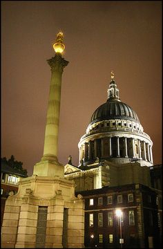 St. Paul's Cathedral and The Monument to the Great Fire of London, more commonly known simply as the Monument. A stone Roman Doric column in the City of London, near the northern end of London Bridge, which commemorates the Great Fire of London.