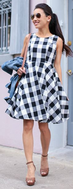 Jean Wang + gingham + classic print + spring essential + stylishly on a dress + skirt + top + Jean + simple accessories + nude heels + brown cross body bag   Dress: Maison Jules, Shoes: WHBM.