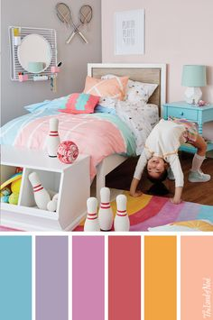 Create a girls sports theme bedroom with stylish bedding and more.