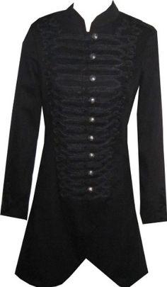 Victorian Long Black Gothic Military SteamPunk Indie Jacket Coat: Amazon.co.uk: Clothing