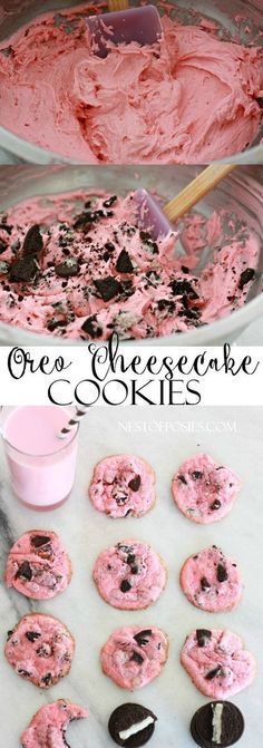 The most amazing and moist pink Oreo Cheesecake Cookies. Made with only 6 ingredients and perfect for Valentine's. These Oreo Cheesecake Cookies are yummy Mini Desserts, Just Desserts, Delicious Desserts, Yummy Food, Pink Desserts Easy, Apple Desserts, Valentines Baking, Valentines Day Desserts, Valentine Party