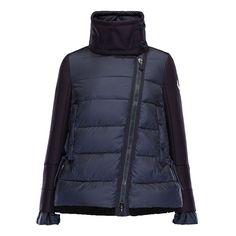 Women Moncler Dark Blue Laurine Biker-style Wool-blend Jacket