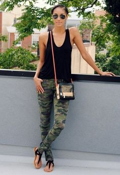 Simplest outfit ever!  CAbi Spring '14 Clover Camo Jegging, any black tank, black sandals. My favorite pants this season!!
