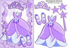 Pretty lilac princess dress with tiara and shoes A5 on Craftsuprint - Add To Basket!