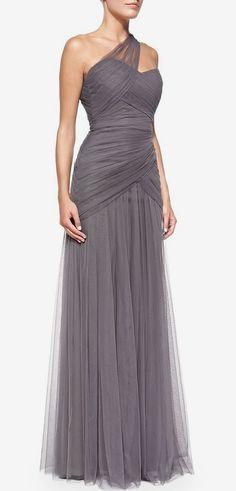 Monique Lhuillier Bridesmaids One-Shoulder Draped Tulle Gown, Slate