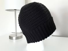 Ponytail Hat / Messy Bun Hat for Teens and Adults - Black by CuddleinCrochet on Etsy