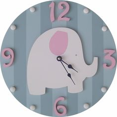 Pink and Grey Elephant Wall Clock This Elephant wooden round wall clock is a must for any room! This clock has been completely handmade and hand painted by the artist, for the distinguished nursery or child's room. Elephant Nursery Decor, Girl Nursery, Elephant Room, Elephant Stuff, Baby Boy Rooms, Baby Room, Regalo Baby Shower, Cool Clocks, Kids Clocks