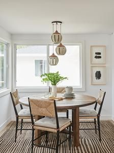 modern farmhouse dining room, neutral dining room, dining room decor with dining room table and chandelier Vintage Dining Chairs, Dining Room Table Decor, Dining Room Design, Dining Room Furniture, Dining Rooms, Kitchen Tables, Kitchen Nook, Dining Tables, Dining Area