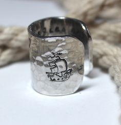 Personalized Hammered Sailor Ring, Tall Ship,Sailing Ring, Nautical Ring, Ring, Pirate, Nautical Jewelry, Personalize, Lemon Lime Creations by LemonLimeCreations on Etsy