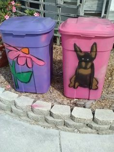 Painted trash cans Trash Can Covers, Painted Trash Cans, Mail Boxes, Rain Barrel, Garbage Can, Trash Bins, Barrels, Flower Arrangement, Yard Art