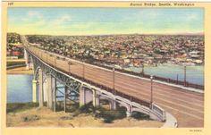 Vintage Washington State Postcard  Aurora Bridge by VintagePlum, $4.00