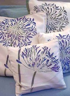 stamps, stencils, patterns and such Agapanthus Stencil African Lily Flower Stencil Top 5 New Plants Cushion Cover Designs, Cushion Covers, Stencil Painting, Fabric Painting, Stenciling, Fabric Paint Shirt, Agapanthus, My Home Design, Sewing Pillows