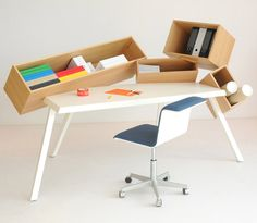 Overdose Desk is a unique and quirky home office desk, with 4 intentionally skewed storage compartments for a unique aesthetic.