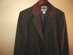 vintage brown tweed wool & leather blazer for men by mellowrabbit, $34.00