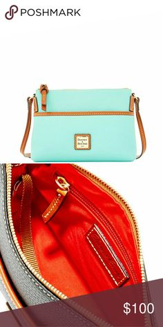 "Dooney & Bourke crossbody bag in mint Mint color. Top zip closure. Slip pocket in the front. Brand new in plastic.  26"" adjustable crossbow strap.  8 1/4 W 6 1/4 H  2 1/4 D  2nd photo is to show inside only. ■Price is firm■ Dooney & Bourke Bags Crossbody Bags"