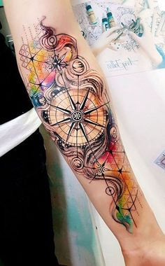 Watercolor Compass Underarm Tattoo Ideas for Women - Tattoo I .- Aquarell Kompass Unterarm Tattoo Ideen für Frauen – Tattoo Ideen mit Watercolor compass forearm tattoo ideas for women – tattoo ideas with …… - Unique Forearm Tattoos, Unique Tattoos For Men, Inner Forearm Tattoo, Creative Tattoos, Tattoos For Guys, Tattoo Neck, Women Forearm Tattoo, Tattoo Sleeves, Arm Tattoos For Women Inner