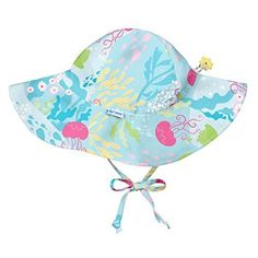 Baby Girls  Brim Sun Protection Hat Aqua Coral Reef 9-18 2fec8bab8269