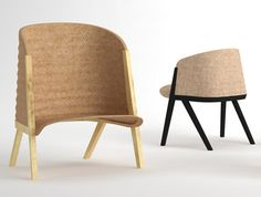 A unique beech framed arm chair. Made of rigid felt and wood frame Mafalda by Patricia Urquiola