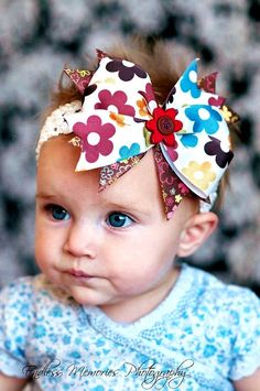 hair bow/ brown, colorful flowers, baby hairbow...great accessory for infant, toddle and big girl/ infant head band/ baby bow. $8.99, via Etsy.
