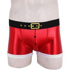 0290f86bee0 Men Santa Christmas Holiday Fancy Cosplay Costume Boxer Shorts Panties  Underwear Holiday Fancy