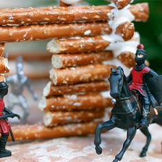Fun with food!  A pretzel log cabin to inspire all sorts of adventures.