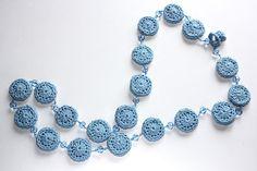 Sky blue handmade crochet and crystal bead necklace by annamonaldi, $63.00