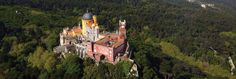 The Magical Pena Palace - for a luxury destination wedding in Sintra, Portugal Sintra Portugal, Spain And Portugal, Pena Palace, Costa, Wedding Abroad, Fairytale Castle, Interesting History, Birds Eye View, European Travel