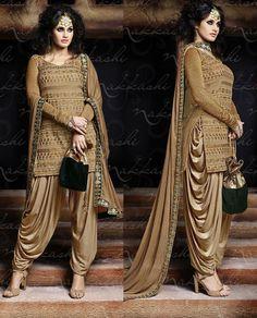 Beige designer Punjabi Patiala salwar kameez in lycra