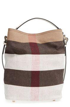 abba5c5fcb23 Burberry  Medium Susanna - Mega Check  Jute   Cotton Bucket Bag available  at