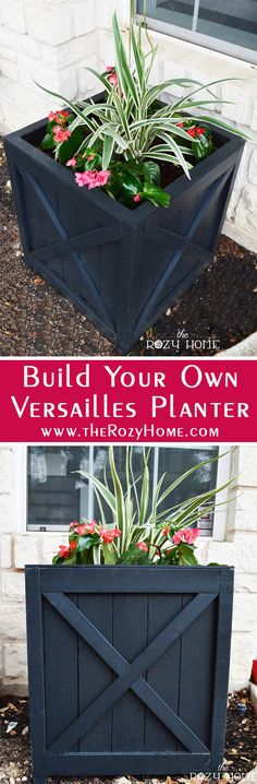 DIY Versailles Planter DIY Versailles Planter Plans from The Rozy Home. Make your own planter for ar Cheap Planters, Outdoor Planters, Outdoor Gardens, Planters For Front Porch, Porch Planter, Black Planters, Tire Planters, Rustic Planters, Courtyard Gardens