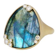 Shaesby one of a kind labradorite ring in 14k yellow gold handcrafted in Austin, TX.