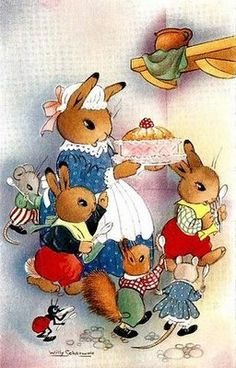 by Willy Schermele Beatrix Potter, Vintage Greeting Cards, Vintage Postcards, Zany Zoo, What Is Cute, Bunny Drawing, Old Children's Books, Needle Felting Tutorials, Children's Book Illustration