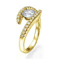 Unique Engagement Ring, 14K Yellow Gold Ring, Twist Ring Size 6.25 1.12 TCW Diamond Ring, Odyssey Collection
