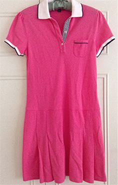 Brooks Brothers Dress 100% Cotton Pique Womens Size XS Dropped Waist Polo Pink