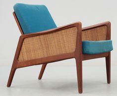 Peter Hvidt and Orla Mølgaard-Neilsen; #D151 Teak and Cane Armchair for France and Daverkosen, 1960s.
