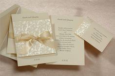 Ecru Ribbon Patterned Fold Over Wedding Invititation - InvitationBox
