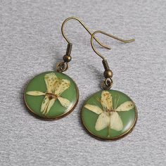 Apple blossom small earrings  resin with real natural by PikLus, $12.00