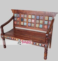 Wooden Ceramic Tile Fitted Bench / Sofa, Hand Made Indian Solid Wood Furniture Manufacturer and Exporters India Indian Furniture, Home Furniture, Outdoor Furniture, Outdoor Decor, Sofa Bench, Restaurant Furniture, Solid Wood Furniture, Jodhpur, Furniture Manufacturers
