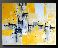 Abstract In Yellow - Acrylic Abstract Painting - Highly Textured. $245.00, via Etsy.
