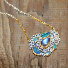 One of the June babies with opal doublets, faceted blue sapphires, and fancy shape diamonds Opal Necklace, Opal Jewelry, Turquoise Necklace, Pendant Necklace, Designer Jewelry, Jewelry Design, Doublet, Antique Jewellery, Opals