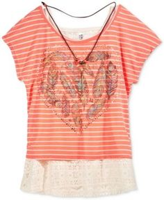 Beautees Layered-Look Feather Graphic Top & Necklace, Big Girls (7-16) - Orange M