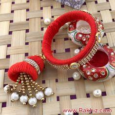 Preety Thread Work Bangle Lumba Rakhi Send Rakhi To India, Buy Rakhi Online, Rakhi Design, Thread Work, Online Gifts, Handmade Decorations, Ornament Wreath, Arts And Crafts, Bangles