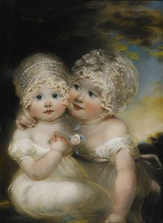 Two Small Girls with Bonnets - John Russell (1745-1806)