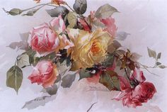 Study work proposed by the Heritage Teachers from a floral painting by Franz B. Aulich, decorative painter of the late nineteenth century.Welcome to the free exercise! Art Floral, Vintage Rosen, Vintage Art, China Painting, Tole Painting, Rose Art, Antique Roses, Botanical Art, Beautiful Paintings