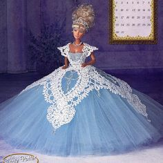 Annies Attic Royal Ballgowns Crochet Pattern, Miss March 1997, For Barbie…