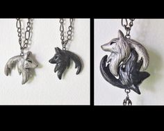 Wolf Yin Yang Necklace His and Hers Interlocking Couple