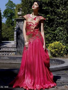 Striking pink color #Georgette #Gown is adorned with resham, zari, sequins, kundan work. Item Code: GKDE3506 http://www.bharatplaza.com/new-arrivals/gowns.html