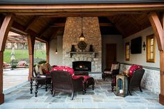 Lighting design: Eileen Naughton. Private Home in Clifton, Virginia. Outdoor Living Room.