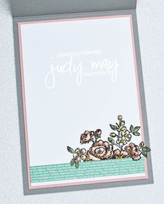 Stampin' Up! Fancy Phrases & Basket of Blooms Feminine Frienship Card - Judy May, Just Judy Designs, Melbourne Whole Image, Flower Center, Ink Pads, Small Flowers, My Stamp, White Ink, Stampin Up Cards, Vases, Melbourne