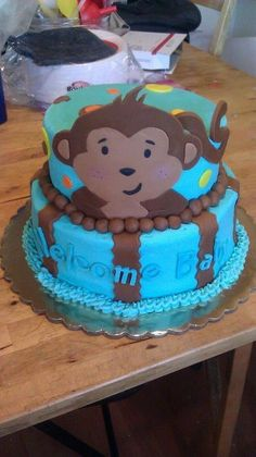 Monkey themed baby shower cake (contact for quote)